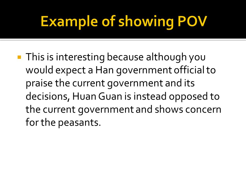 Example of showing POV