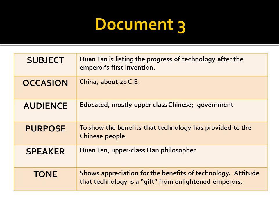 Document 3 SUBJECT OCCASION AUDIENCE PURPOSE SPEAKER TONE