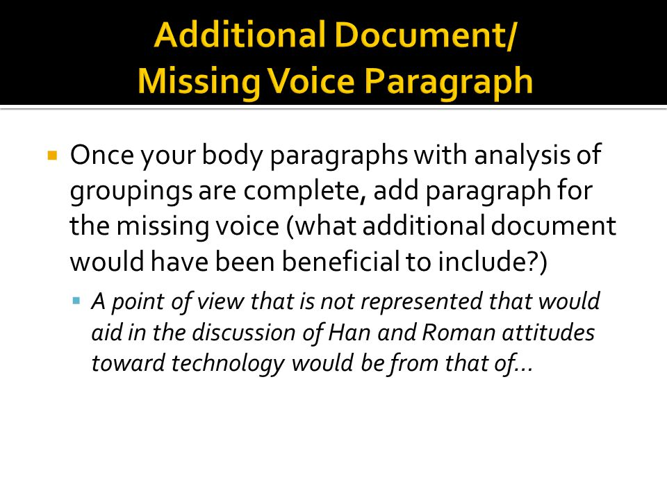 Additional Document/ Missing Voice Paragraph