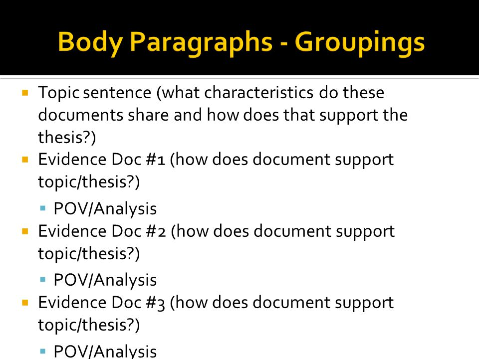 Body Paragraphs - Groupings