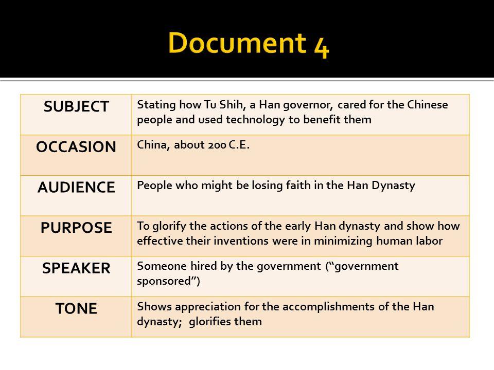 Document 4 SUBJECT OCCASION AUDIENCE PURPOSE SPEAKER TONE
