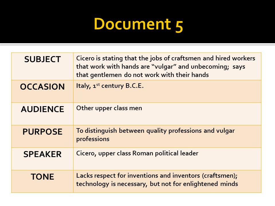 Document 5 SUBJECT OCCASION AUDIENCE PURPOSE SPEAKER TONE
