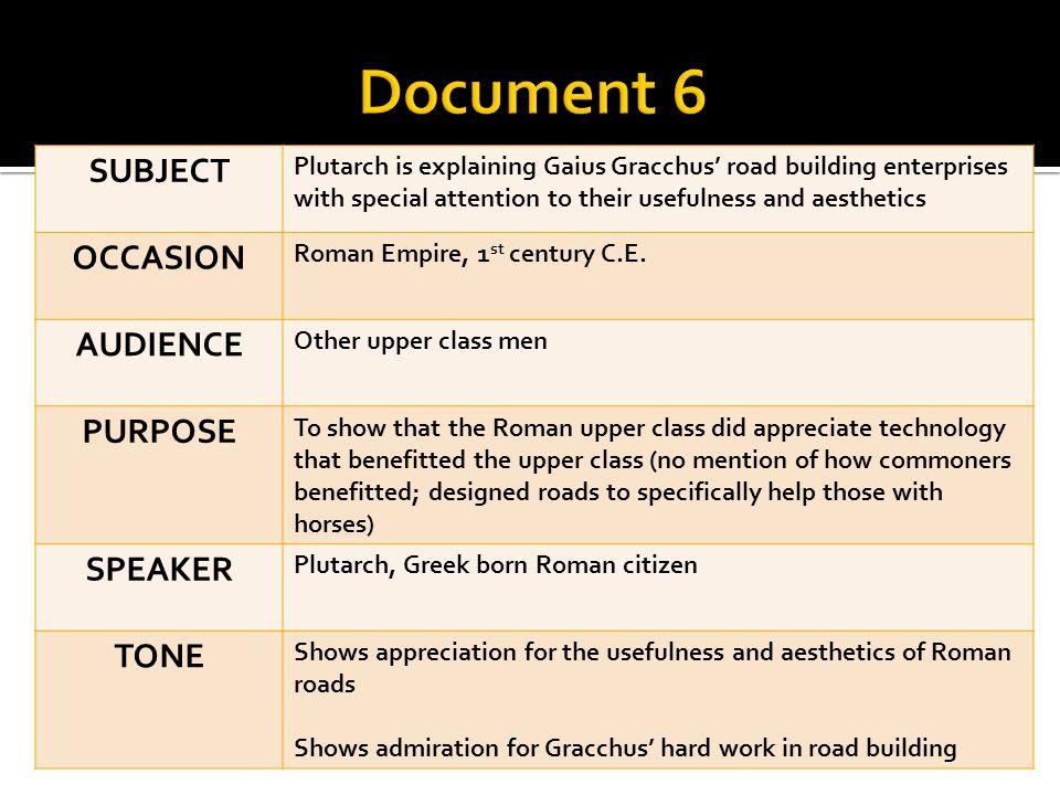 Document 6 SUBJECT OCCASION AUDIENCE PURPOSE SPEAKER TONE