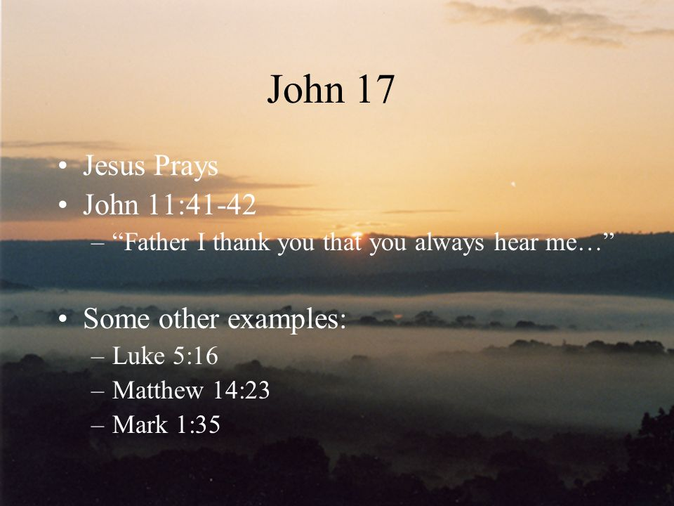 John 17 Jesus Prays John 11:41-42 Some other examples: