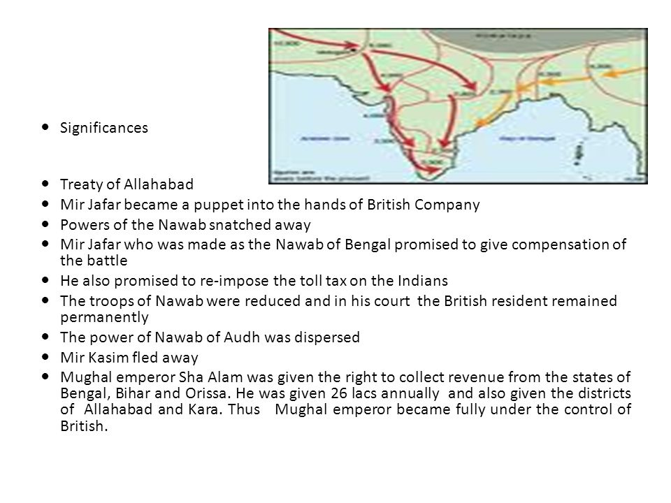 Significances Treaty of Allahabad. Mir Jafar became a puppet into the hands of British Company. Powers of the Nawab snatched away.
