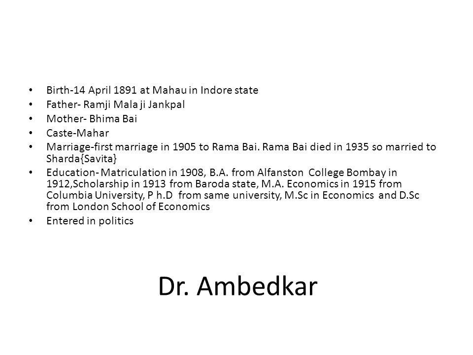 Dr. Ambedkar Birth-14 April 1891 at Mahau in Indore state