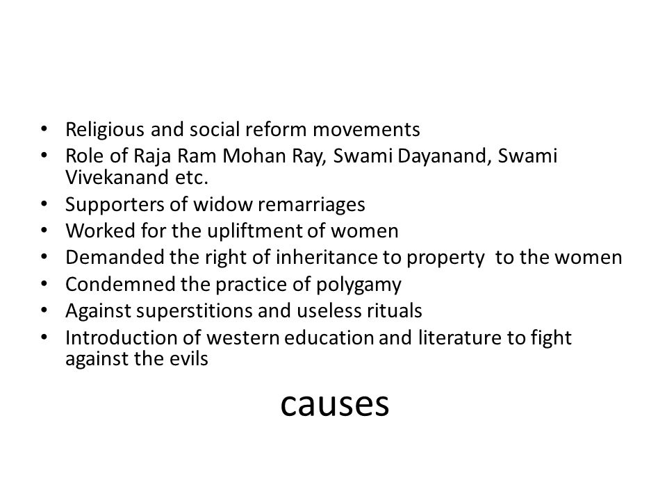 causes Religious and social reform movements