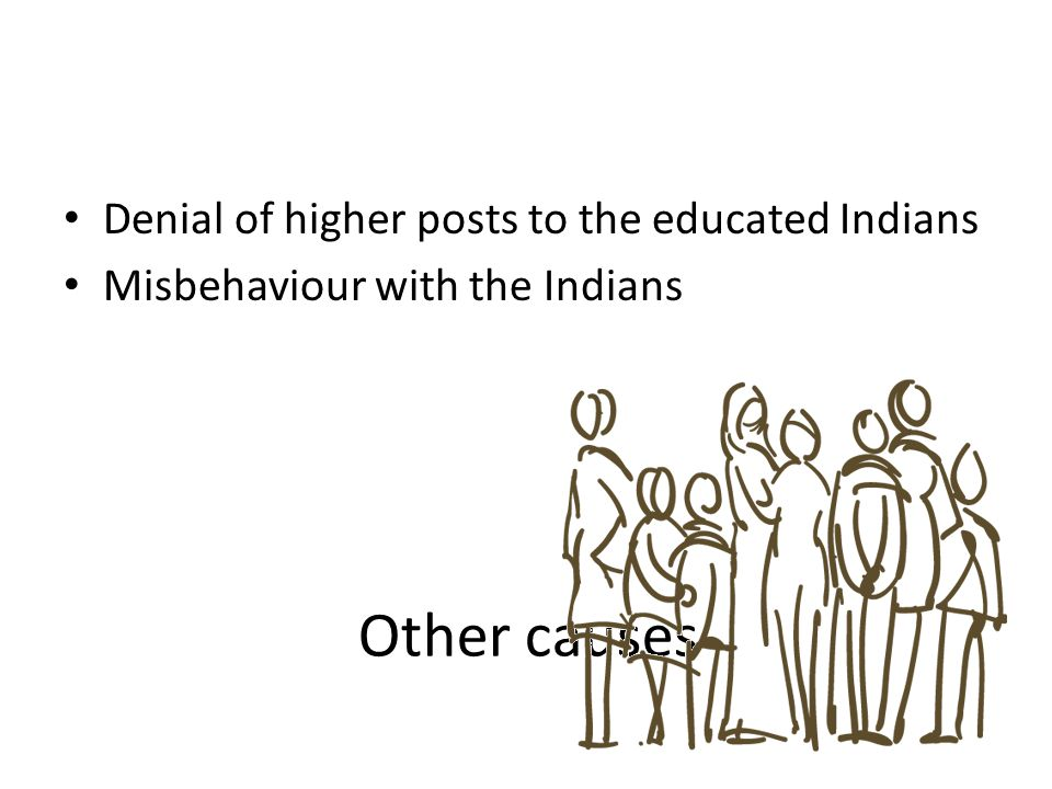 Other causes Denial of higher posts to the educated Indians