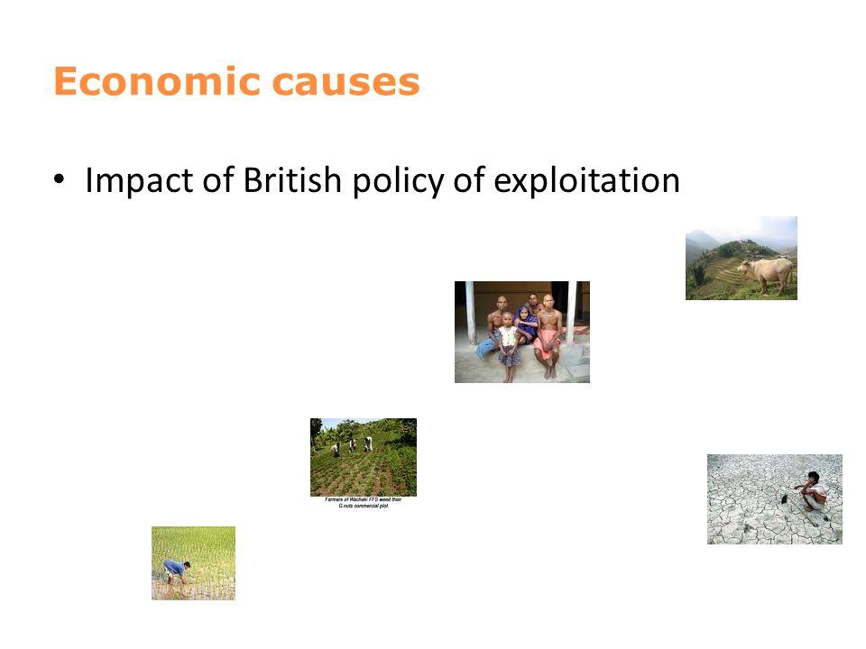 Economic causes Impact of British policy of exploitation