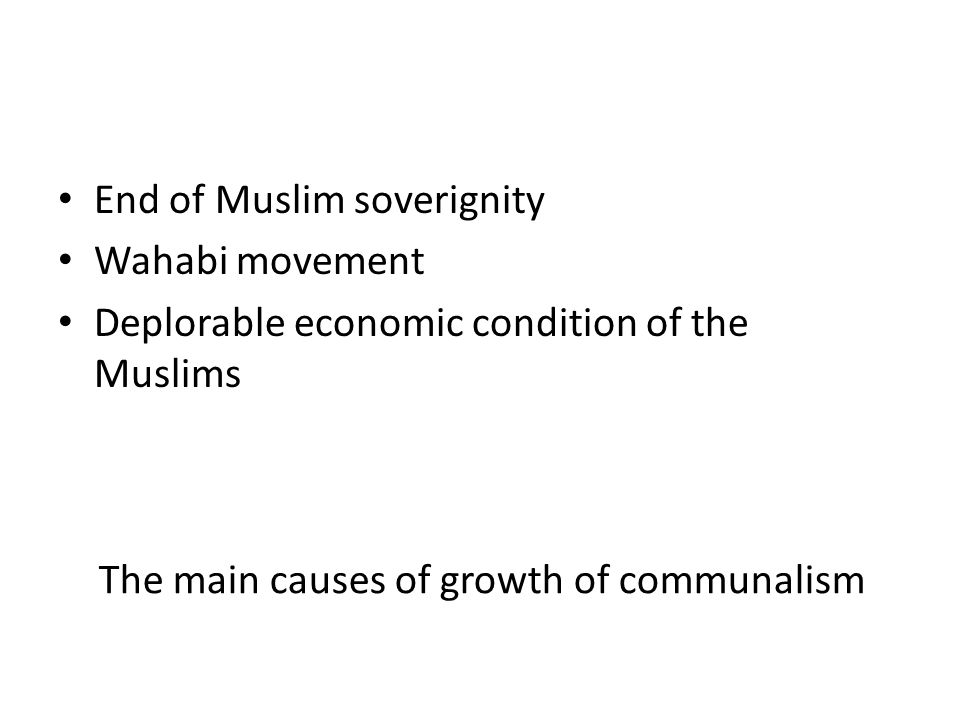 The main causes of growth of communalism