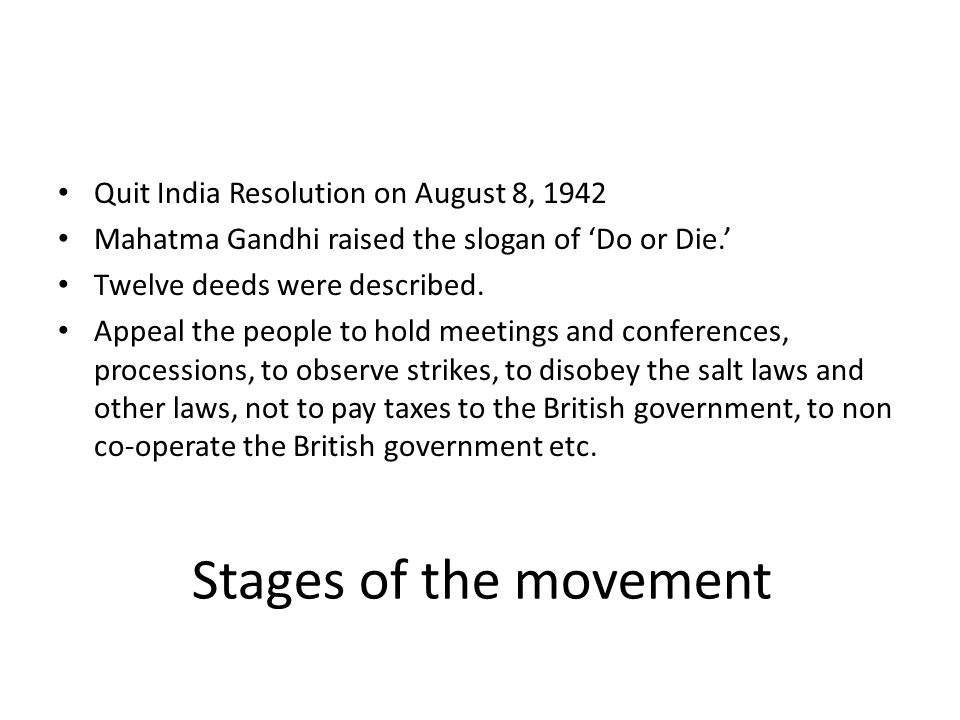 Stages of the movement Quit India Resolution on August 8, 1942