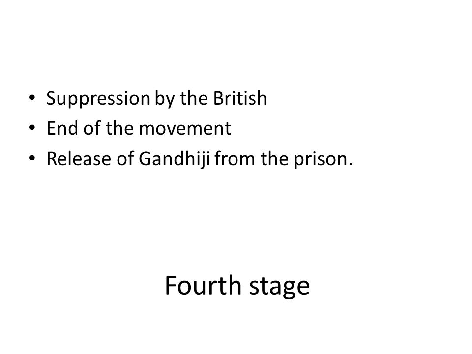 Fourth stage Suppression by the British End of the movement