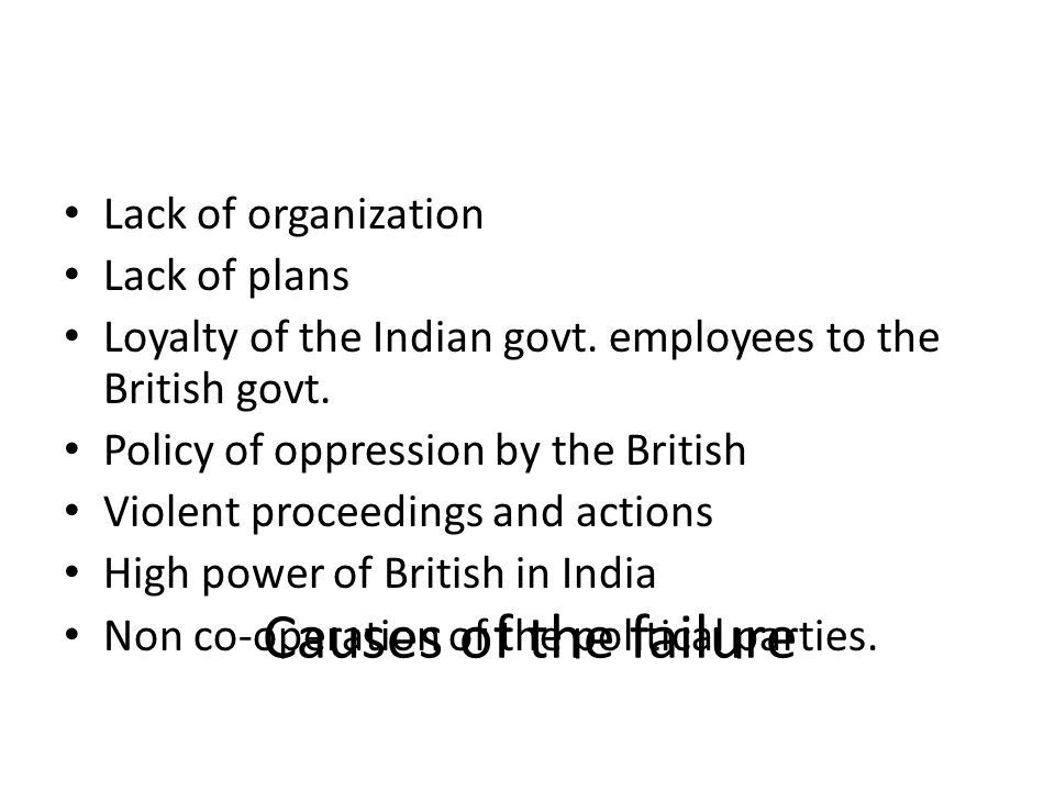 Causes of the failure Lack of organization Lack of plans
