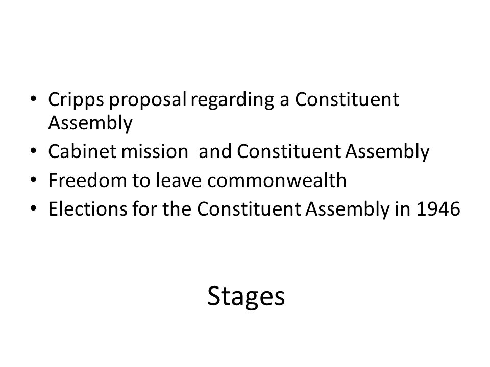 Stages Cripps proposal regarding a Constituent Assembly