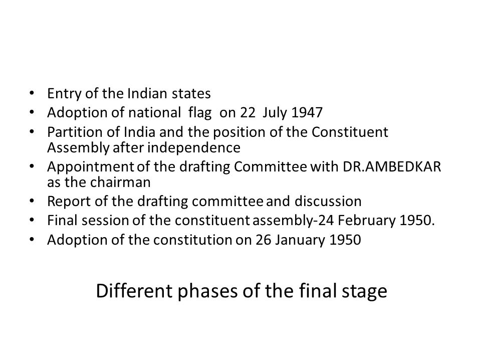 Different phases of the final stage