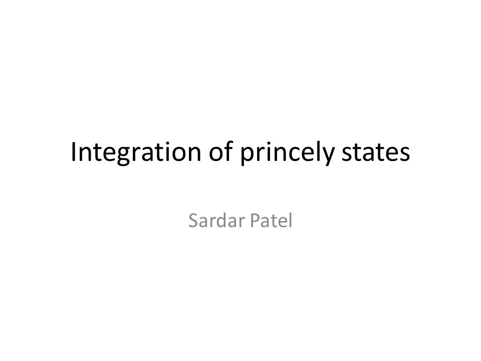 Integration of princely states
