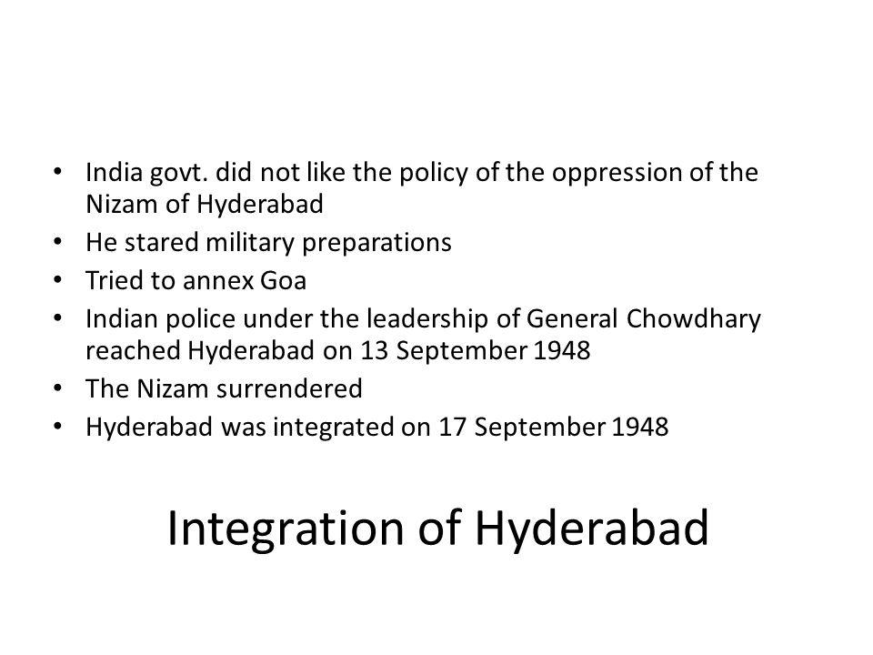 Integration of Hyderabad