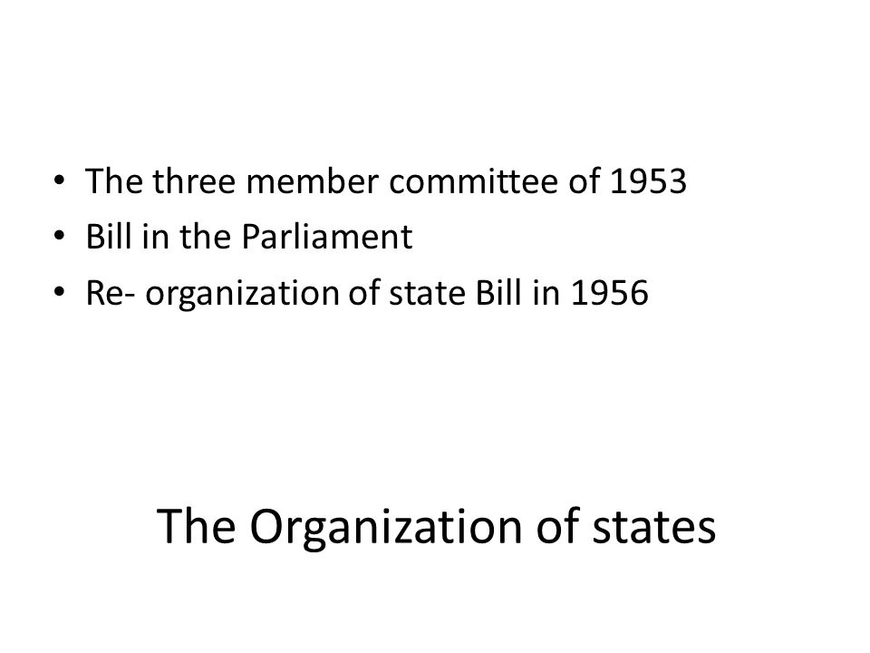 The Organization of states