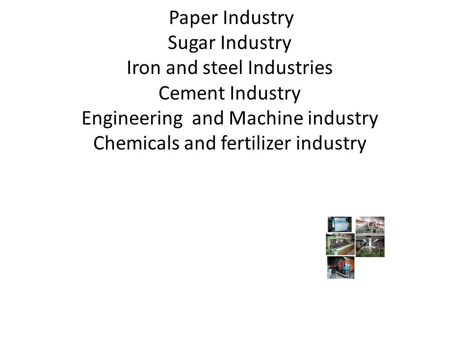 Paper Industry Sugar Industry Iron and steel Industries Cement Industry Engineering and Machine industry Chemicals and fertilizer industry