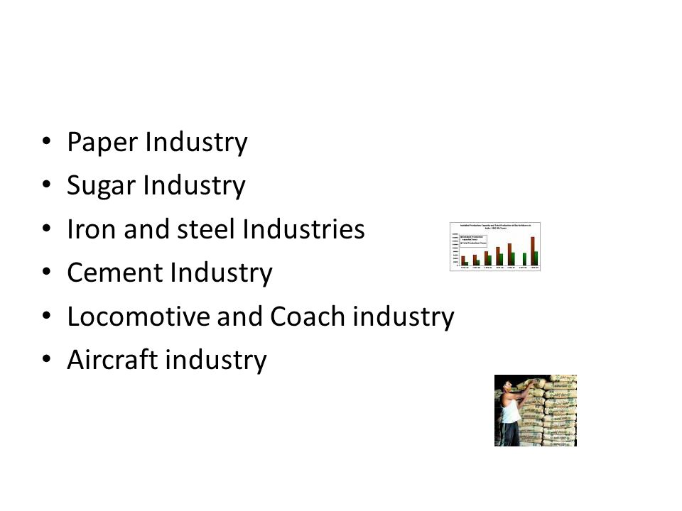 Paper Industry Sugar Industry. Iron and steel Industries. Cement Industry. Locomotive and Coach industry.