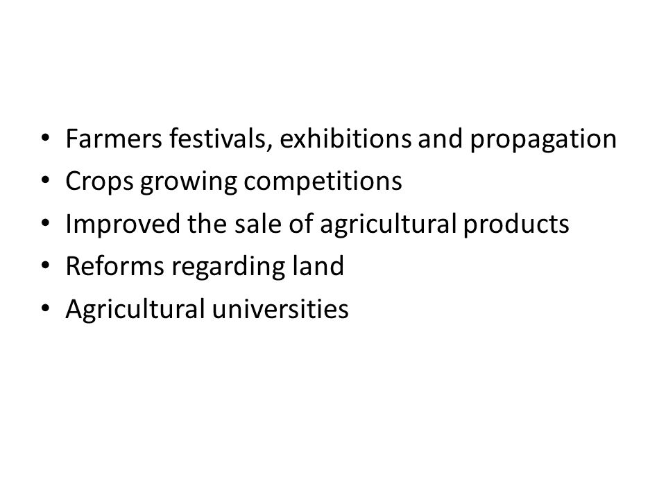 Farmers festivals, exhibitions and propagation
