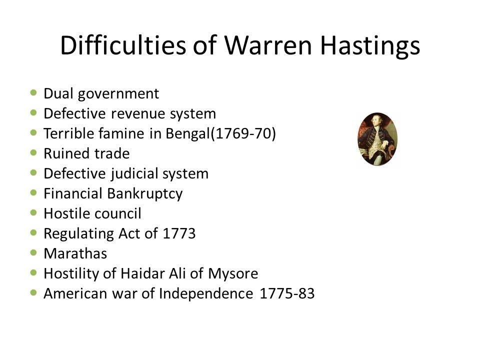 Difficulties of Warren Hastings