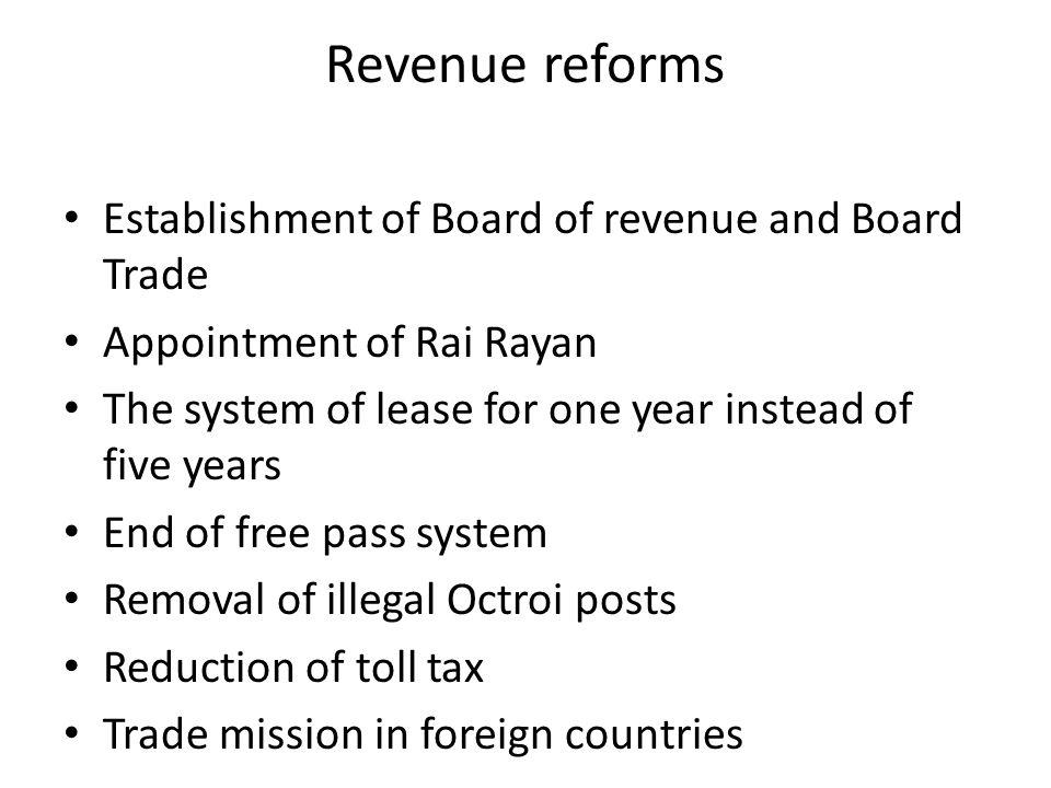 Revenue reforms Establishment of Board of revenue and Board Trade