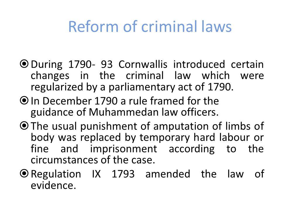 Reform of criminal laws