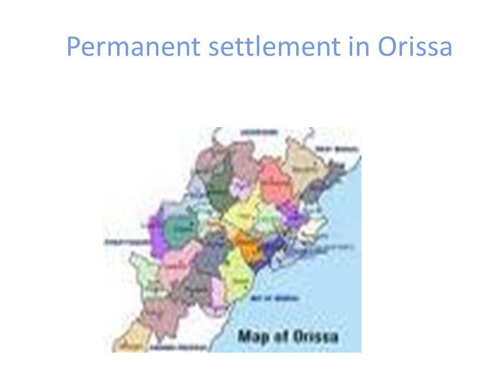 Permanent settlement in Orissa