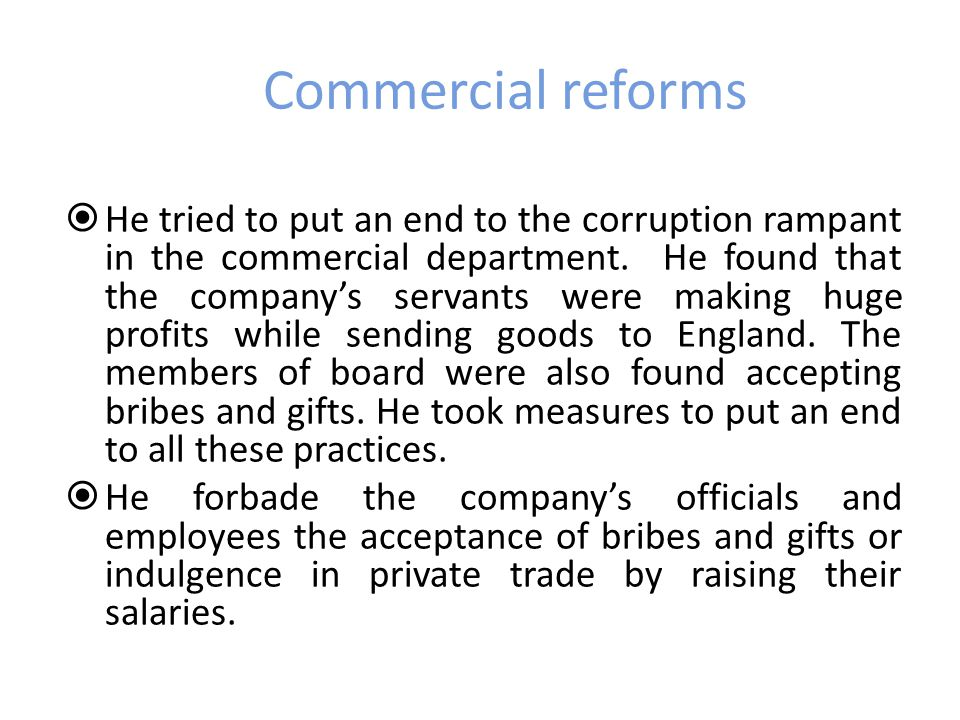Commercial reforms