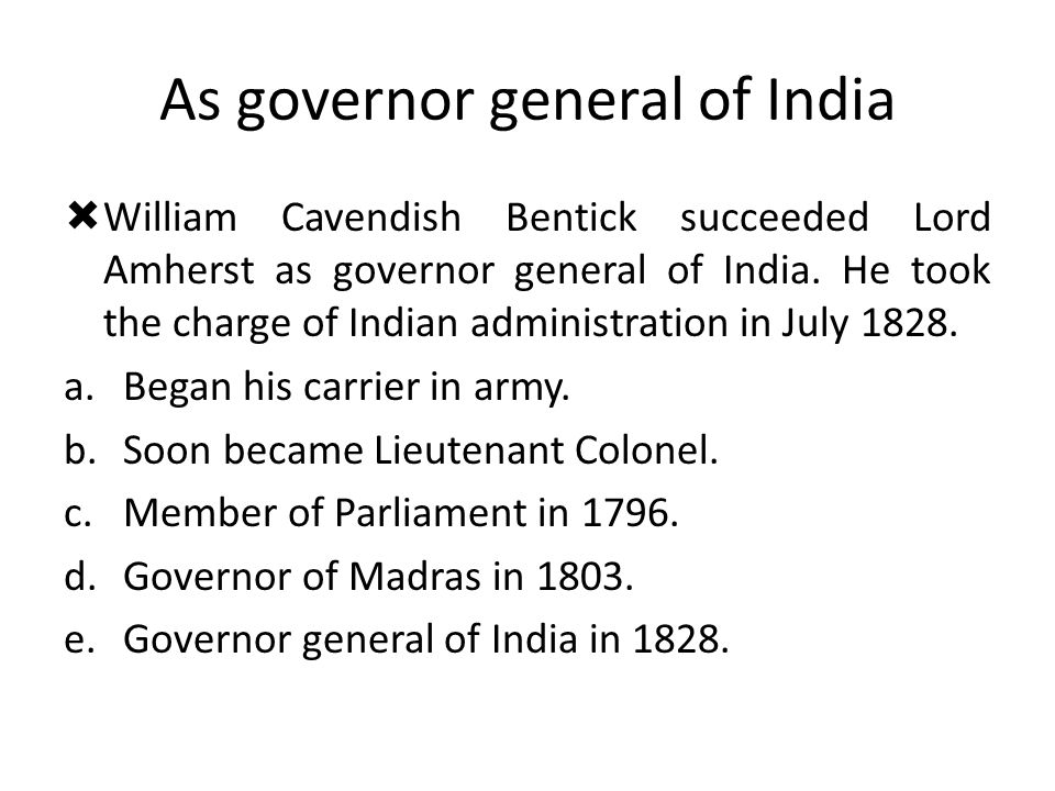 As governor general of India