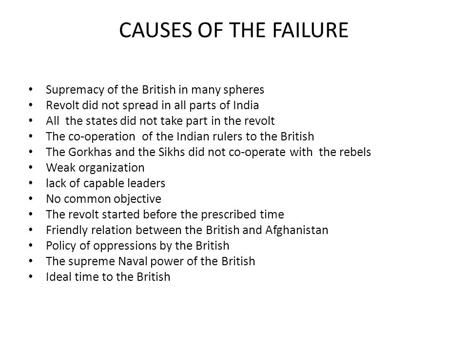 CAUSES OF THE FAILURE Supremacy of the British in many spheres