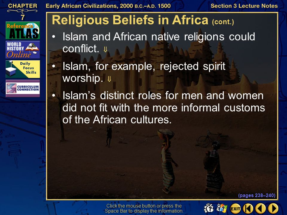 Religious Beliefs in Africa (cont.)