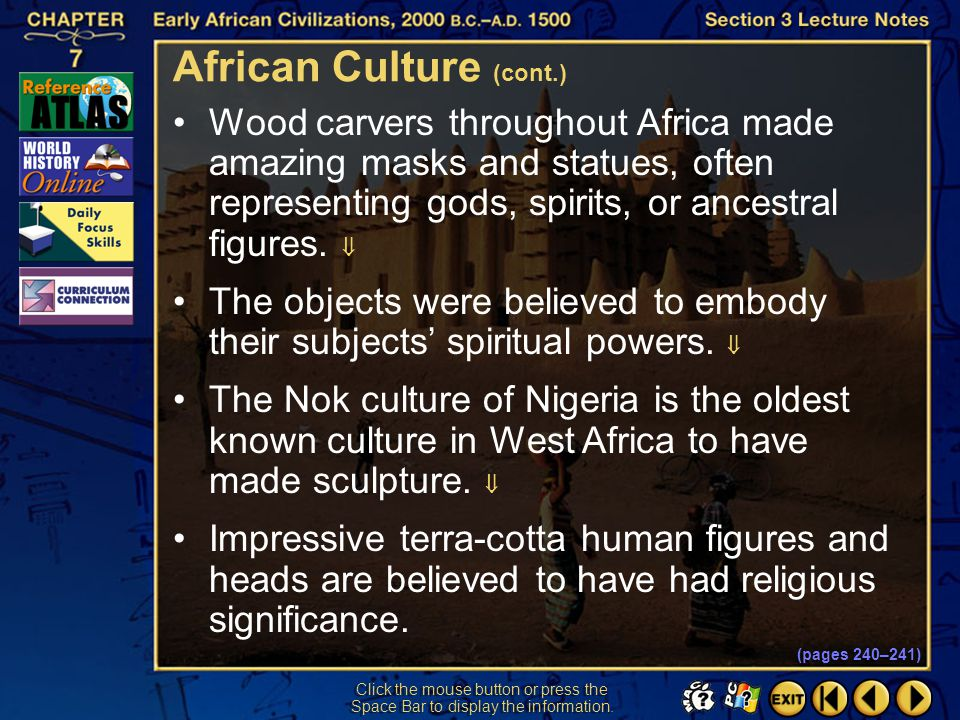 African Culture (cont.)