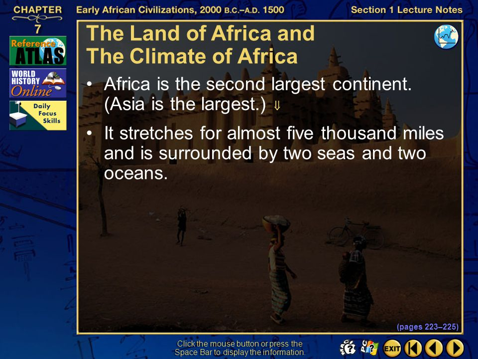 The Land of Africa and The Climate of Africa