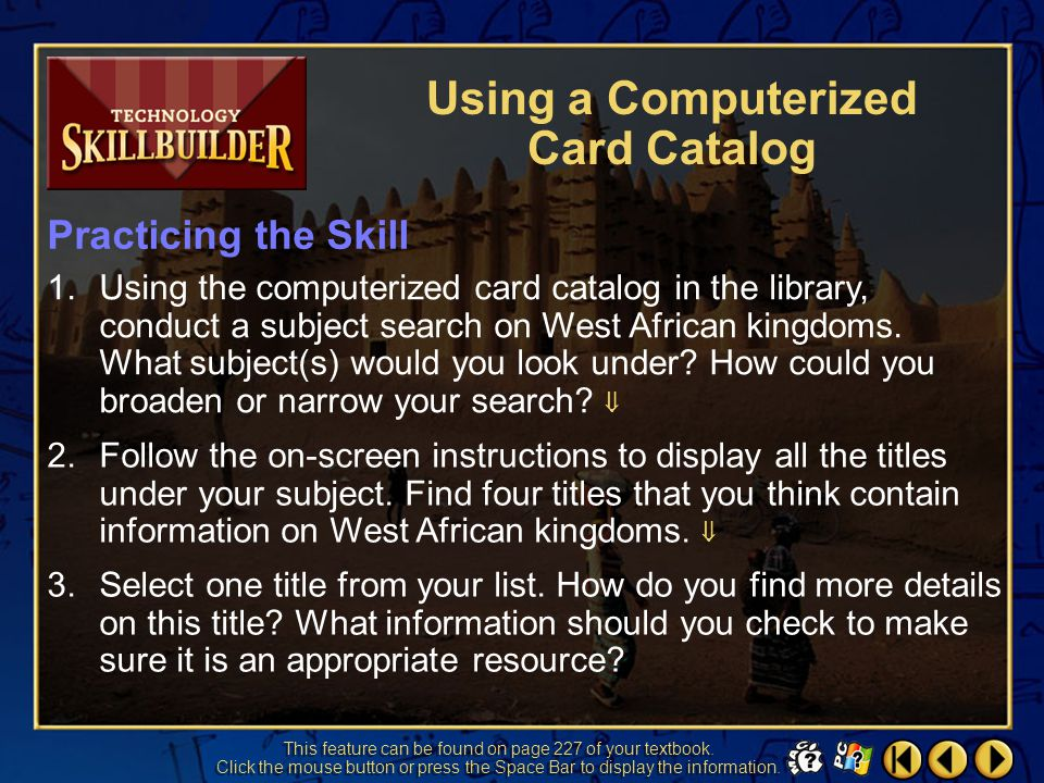 Using a Computerized Card Catalog