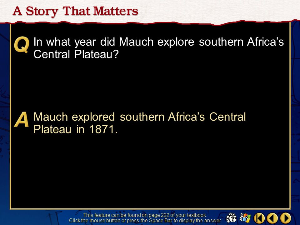 In what year did Mauch explore southern Africa's Central Plateau