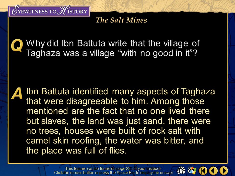 Why did Ibn Battuta write that the village of Taghaza was a village with no good in it
