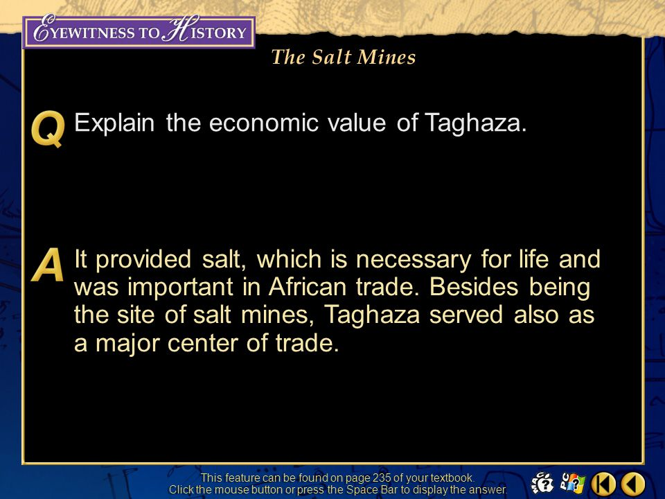 Explain the economic value of Taghaza.