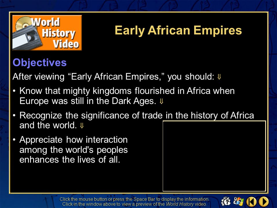 Early African Empires Objectives