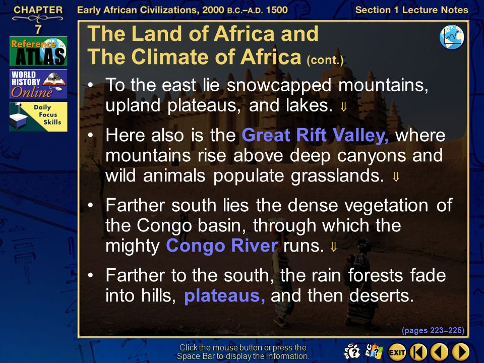 The Land of Africa and The Climate of Africa (cont.)