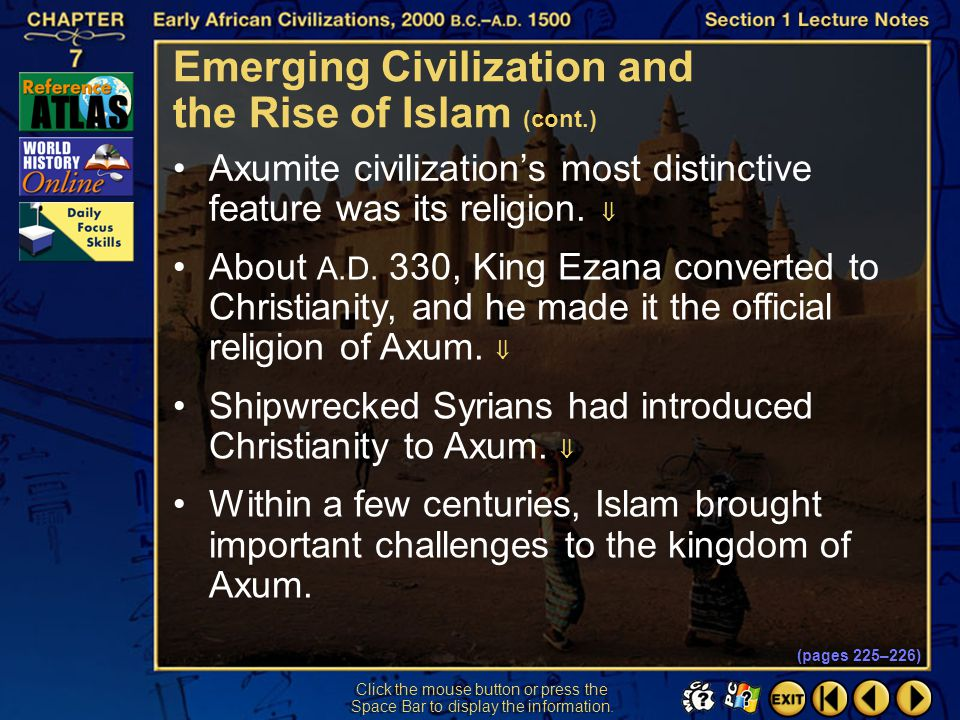 Emerging Civilization and the Rise of Islam (cont.)