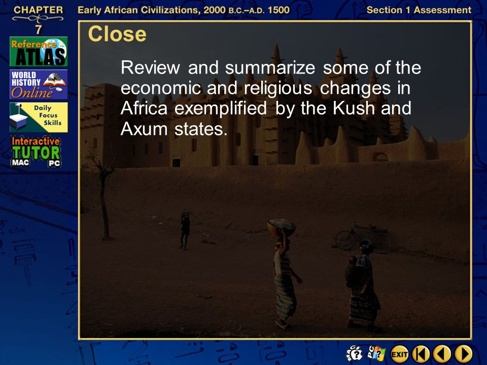 Close Review and summarize some of the economic and religious changes in Africa exemplified by the Kush and Axum states.