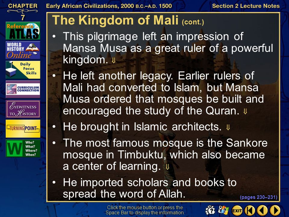 The Kingdom of Mali (cont.)