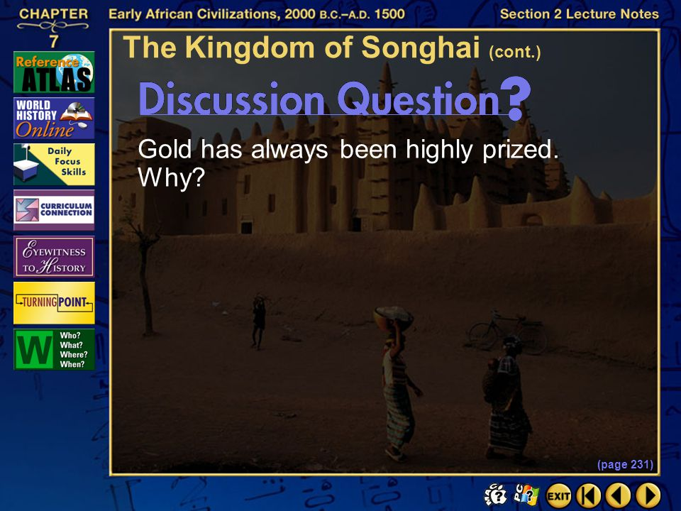 The Kingdom of Songhai (cont.)