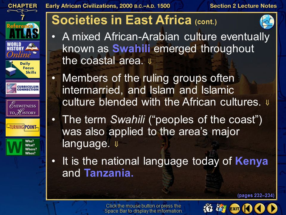 Societies in East Africa (cont.)