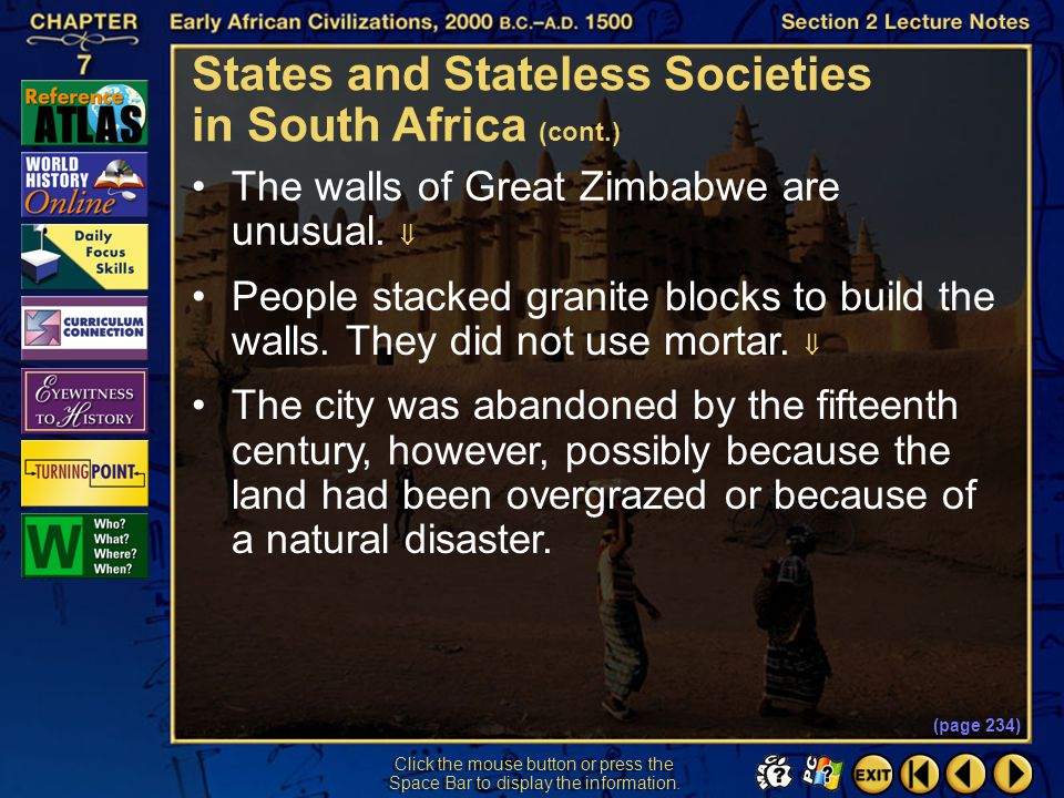 States and Stateless Societies in South Africa (cont.)