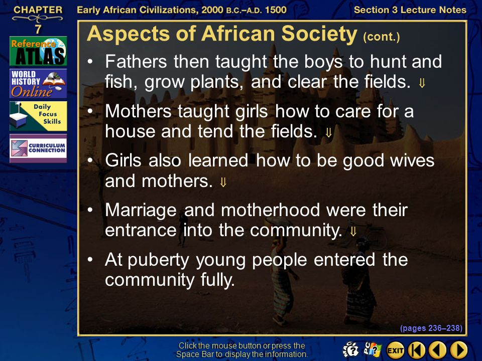 Aspects of African Society (cont.)