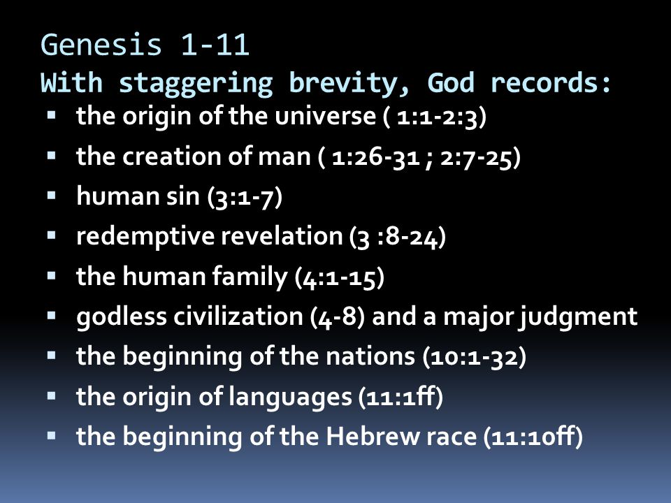 Genesis 1-11 With staggering brevity, God records: