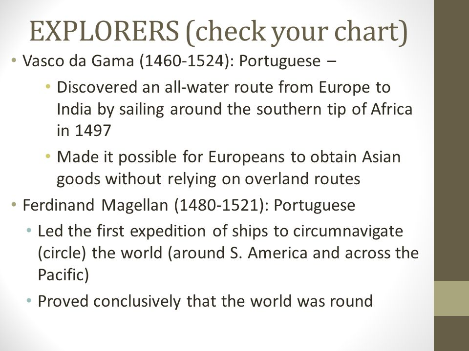 EXPLORERS (check your chart)
